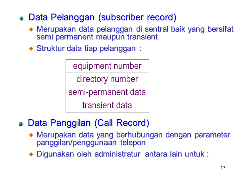Data Pelanggan (subscriber record)