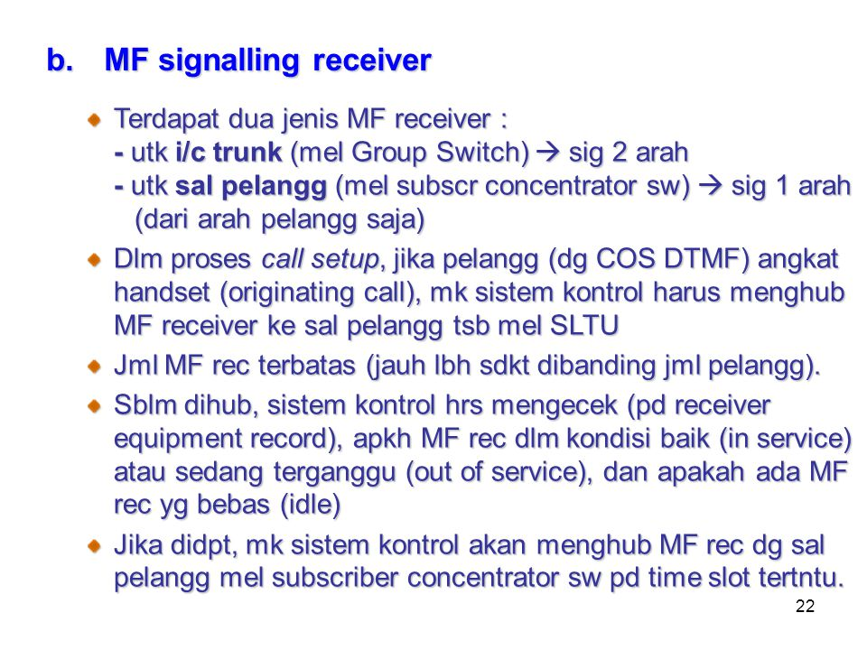 MF signalling receiver
