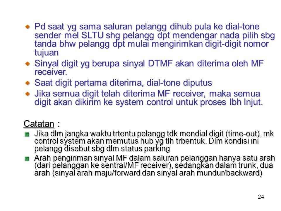 Sinyal digit yg berupa sinyal DTMF akan diterima oleh MF receiver.
