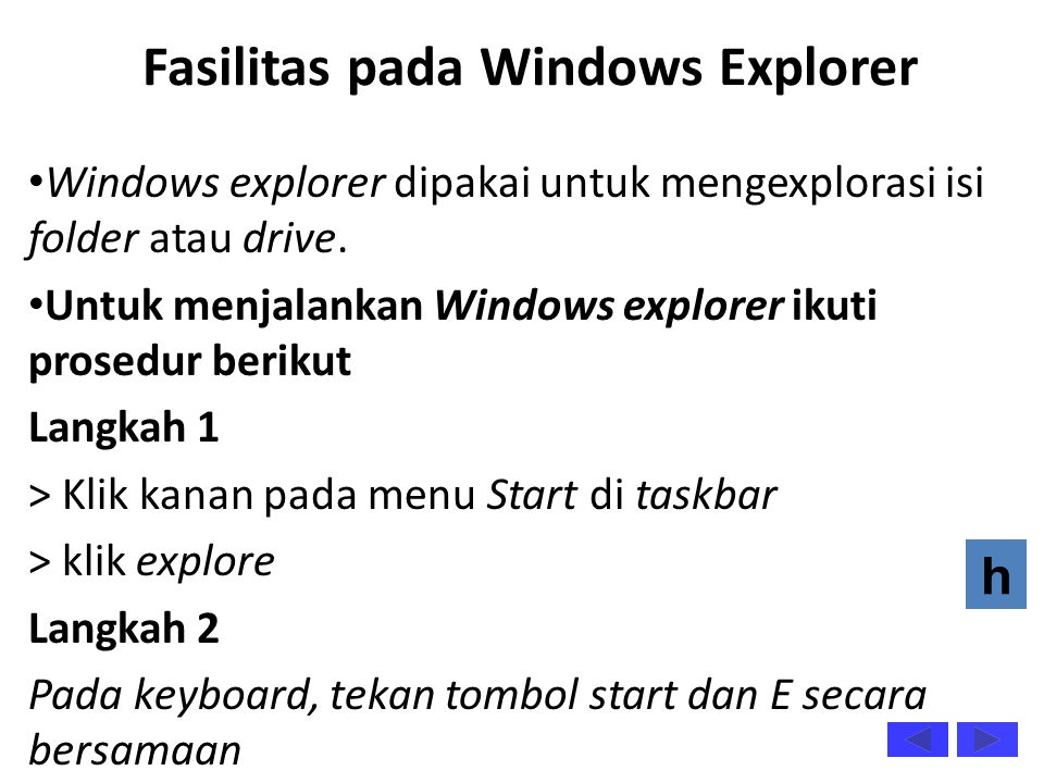Fasilitas pada Windows Explorer