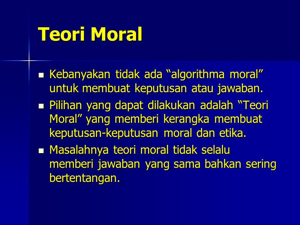 Teori Moral Kebanyakan tidak ada algorithma moral untuk membuat keputusan atau jawaban.
