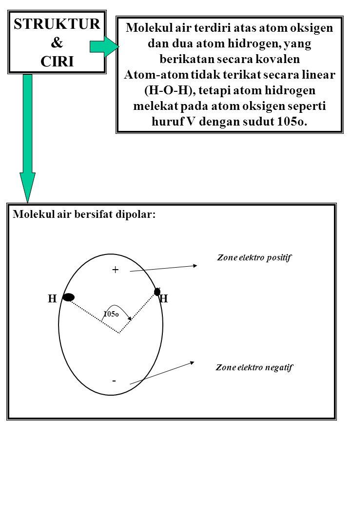 STRUKTUR & CIRI. Molekul air terdiri atas atom oksigen dan dua atom hidrogen, yang berikatan secara kovalen.