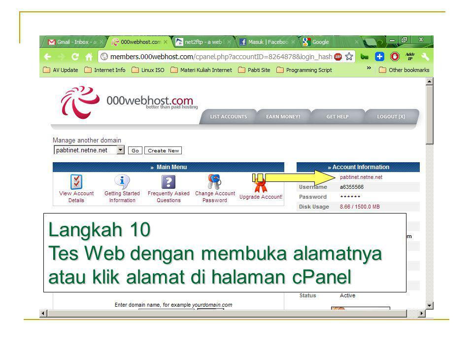 Langkah 10 Tes Web dengan membuka alamatnya atau klik alamat di halaman cPanel