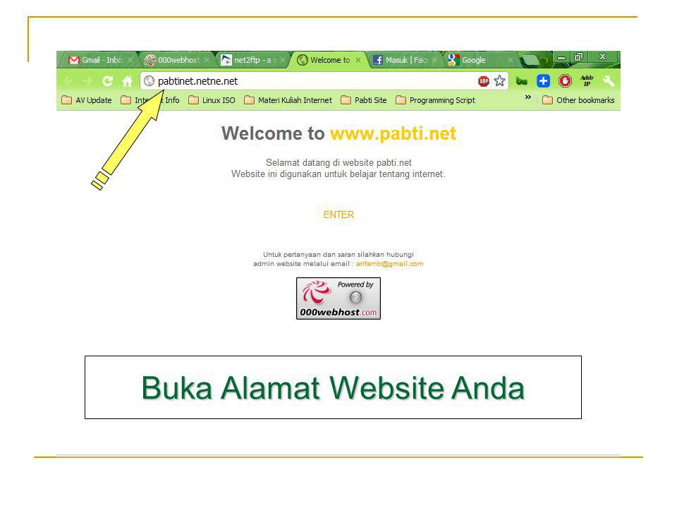 Buka Alamat Website Anda