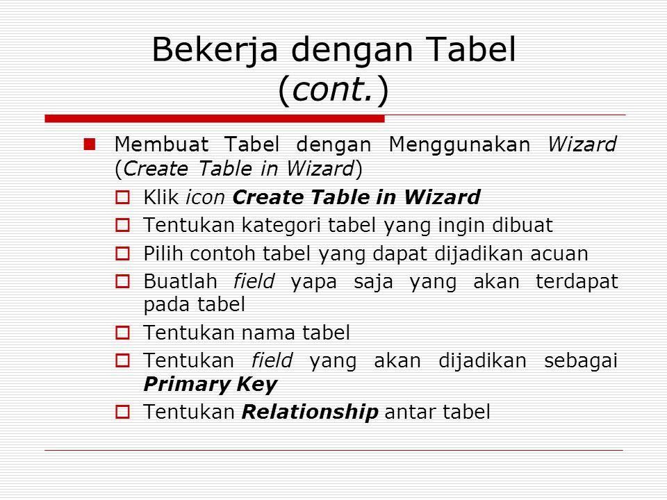 Bekerja dengan Tabel (cont.)