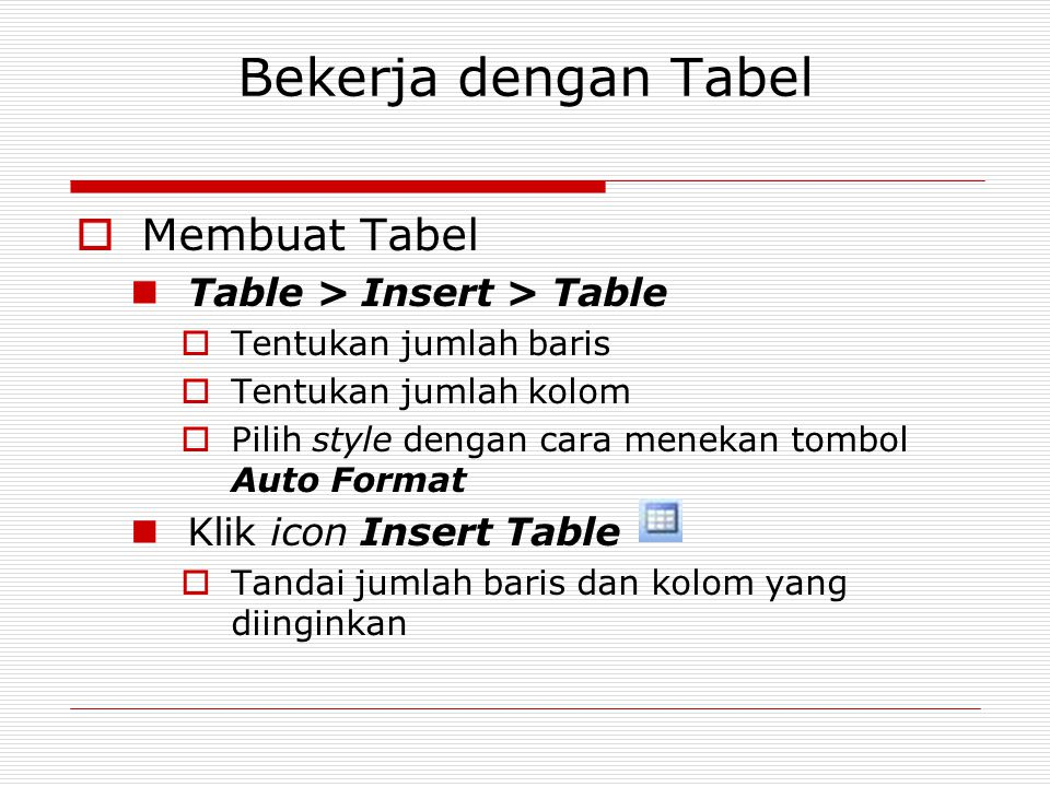 Bekerja dengan Tabel Membuat Tabel Table > Insert > Table