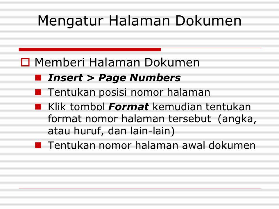 Mengatur Halaman Dokumen