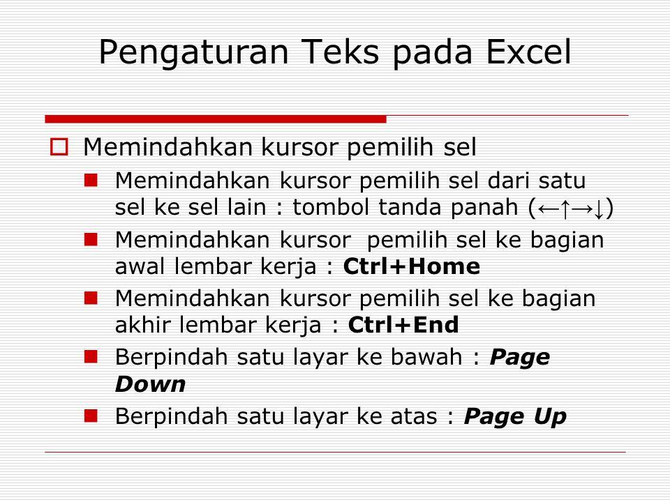 Pengaturan Teks pada Excel