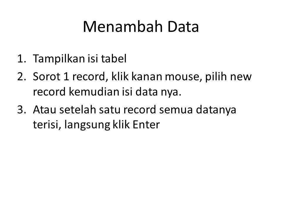 Menambah Data Tampilkan isi tabel