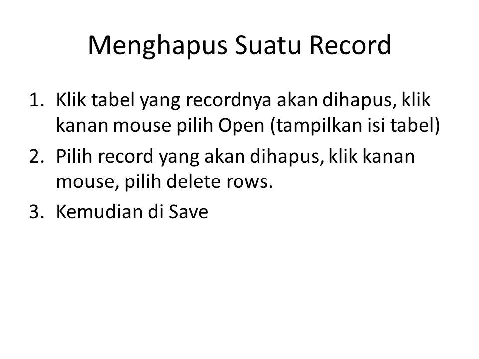 Menghapus Suatu Record