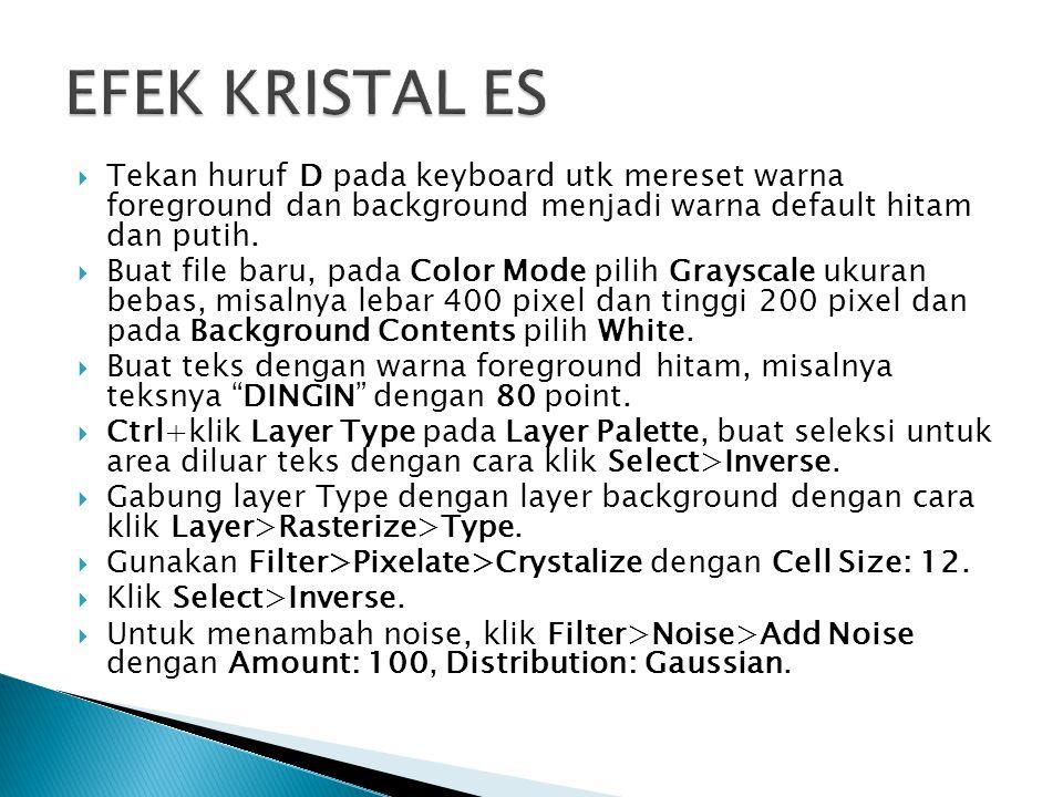 EFEK KRISTAL ES Tekan huruf D pada keyboard utk mereset warna foreground dan background menjadi warna default hitam dan putih.