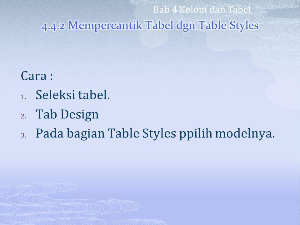 4.4.2 Mempercantik Tabel dgn Table Styles