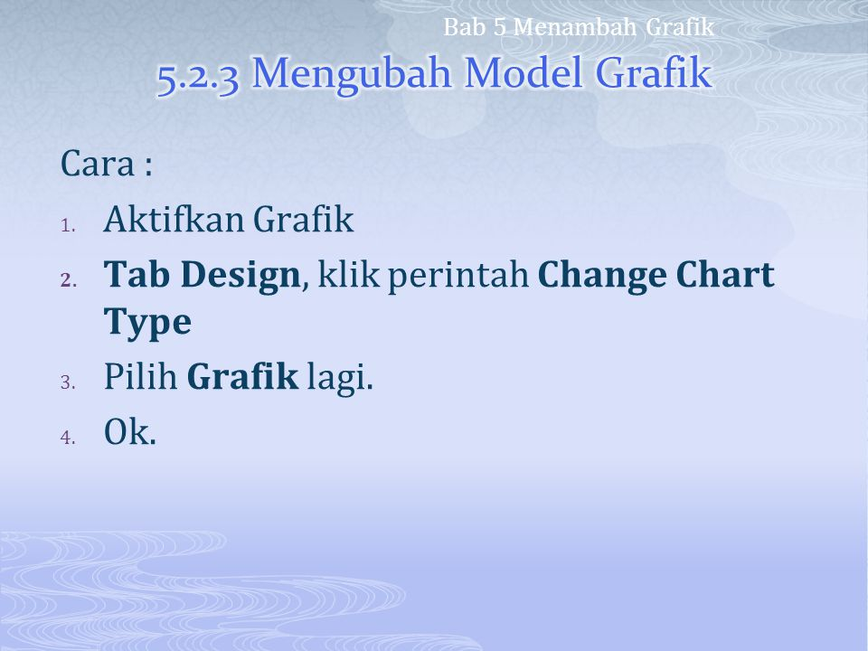 5.2.3 Mengubah Model Grafik Cara : Aktifkan Grafik