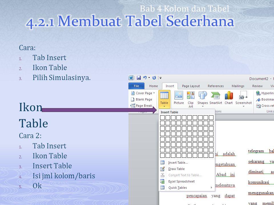 4.2.1 Membuat Tabel Sederhana