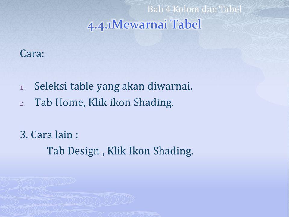 4.4.1Mewarnai Tabel Cara: Seleksi table yang akan diwarnai.