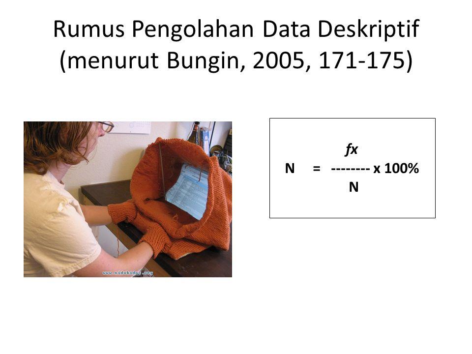 Rumus Pengolahan Data Deskriptif (menurut Bungin, 2005, 171-175)