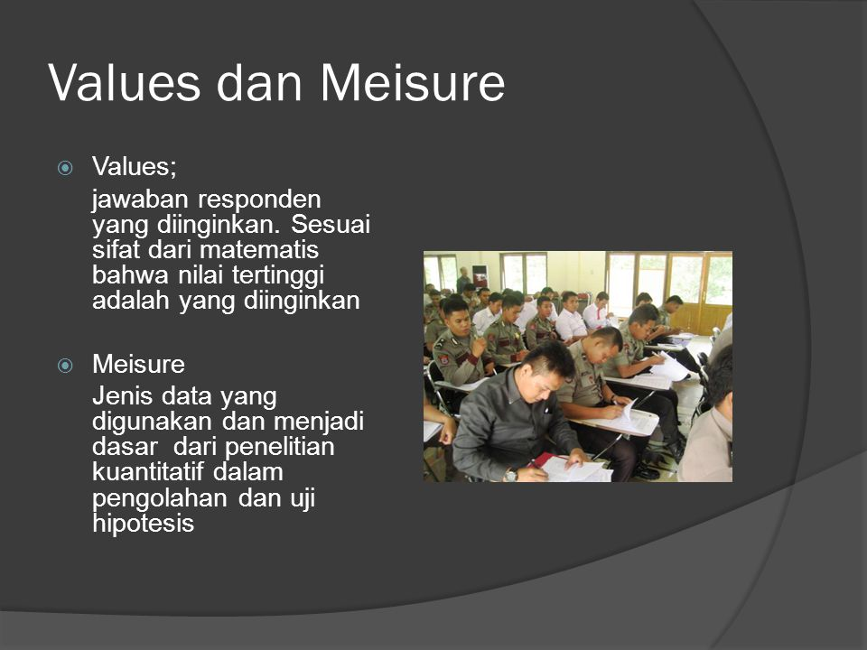 Values dan Meisure Values;