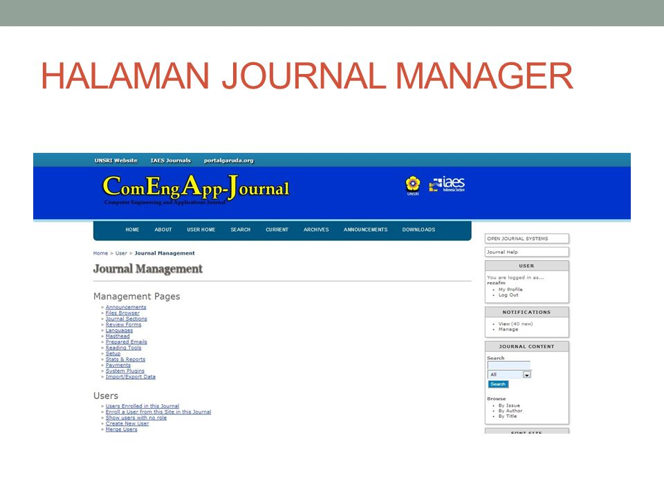 HALAMAN JOURNAL MANAGER