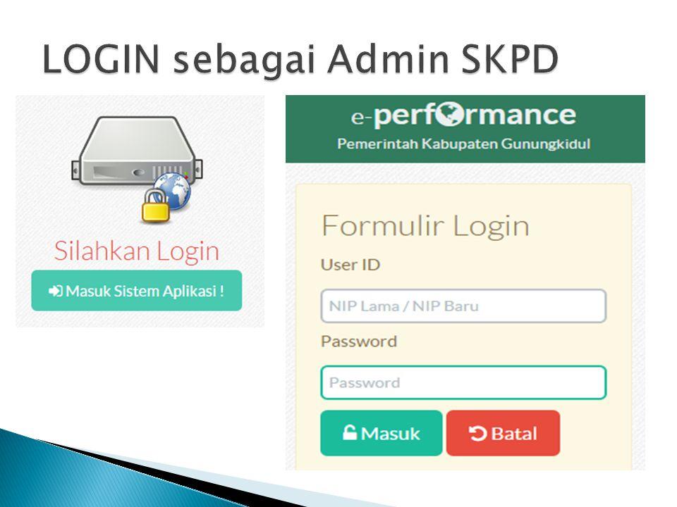 LOGIN sebagai Admin SKPD