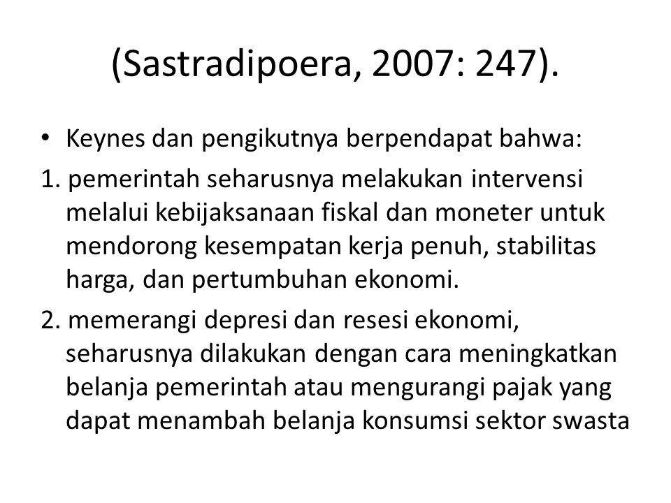 (Sastradipoera, 2007: 247). Keynes dan pengikutnya berpendapat bahwa:
