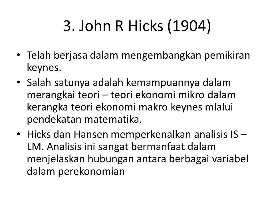 3. John R Hicks (1904) Telah berjasa dalam mengembangkan pemikiran keynes.
