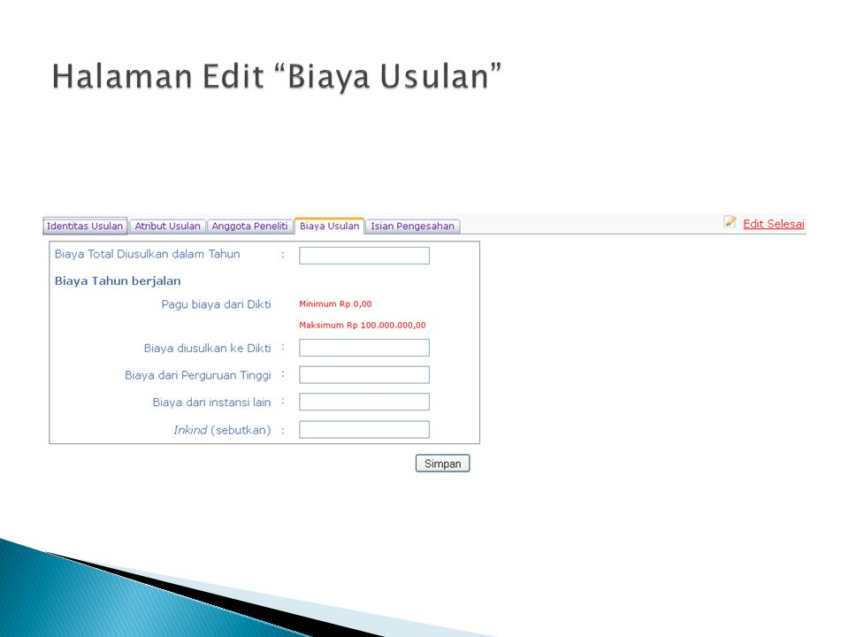 Halaman Edit Biaya Usulan