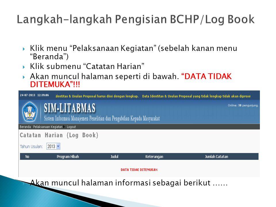 Langkah-langkah Pengisian BCHP/Log Book