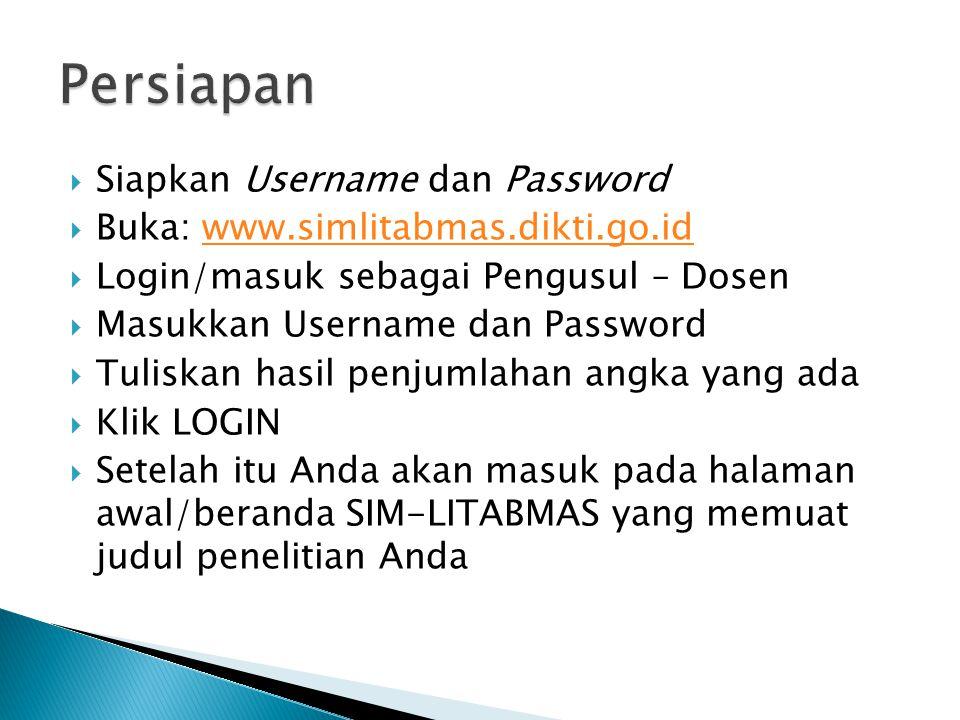 Persiapan Siapkan Username dan Password