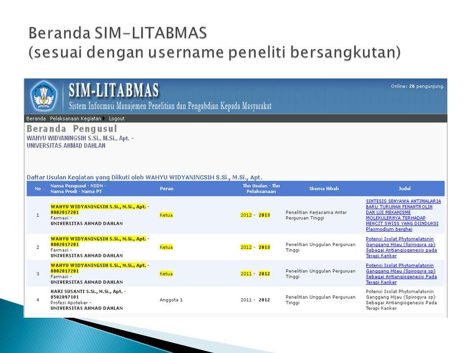 Beranda SIM-LITABMAS (sesuai dengan username peneliti bersangkutan)