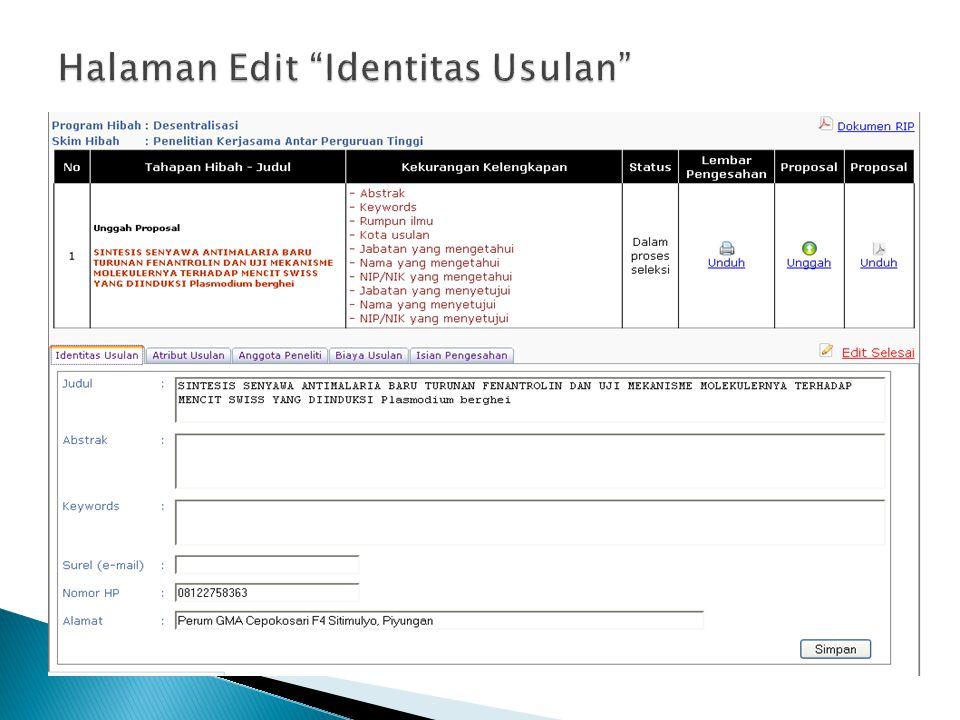 Halaman Edit Identitas Usulan