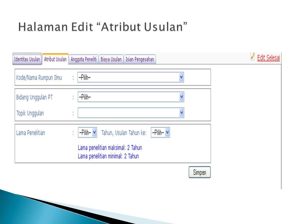 Halaman Edit Atribut Usulan