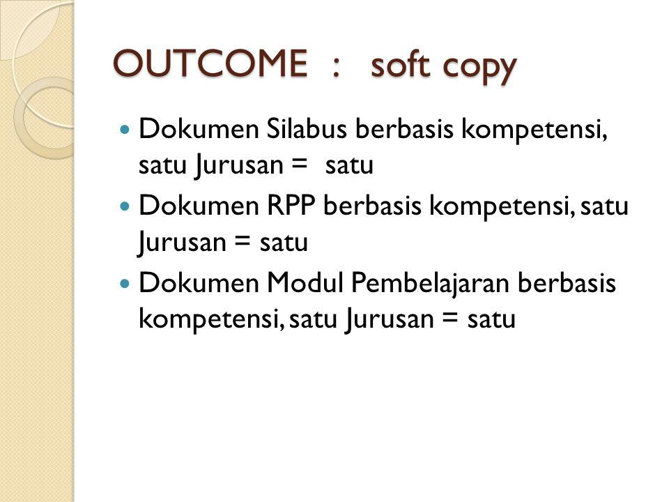 OUTCOME : soft copy Dokumen Silabus berbasis kompetensi, satu Jurusan = satu. Dokumen RPP berbasis kompetensi, satu Jurusan = satu.