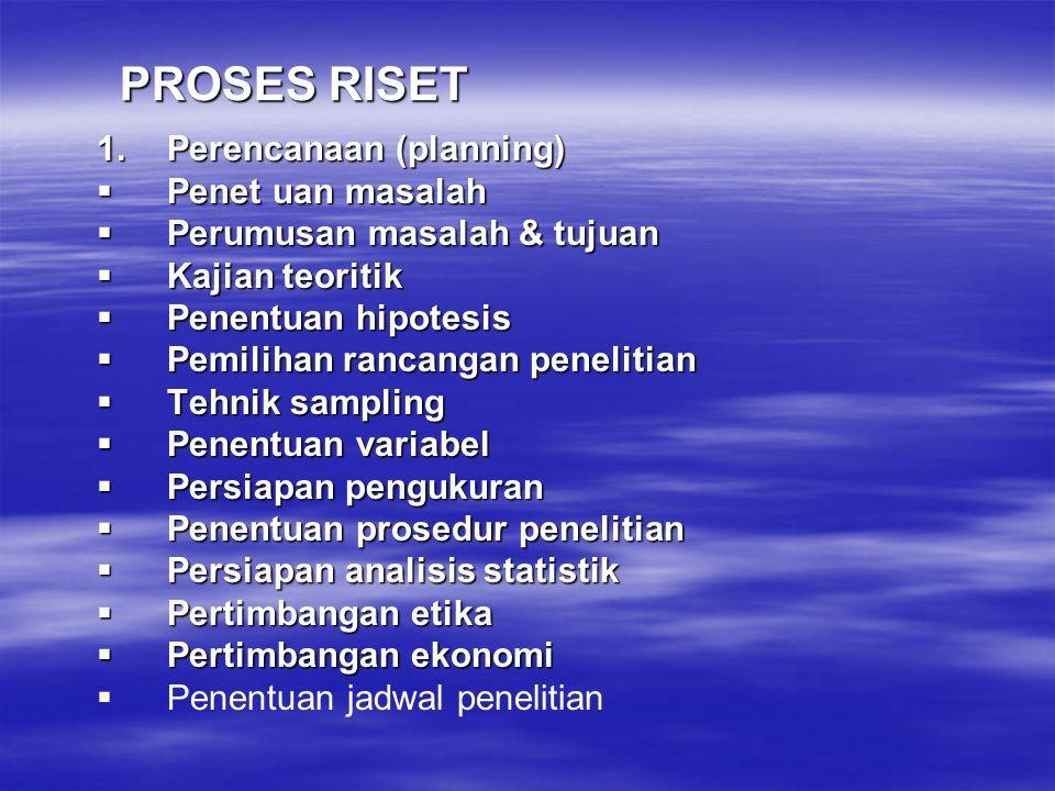 PROSES RISET Perencanaan (planning) Penet uan masalah