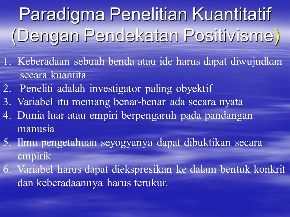 Paradigma Penelitian Kuantitatif (Dengan Pendekatan Positivisme)