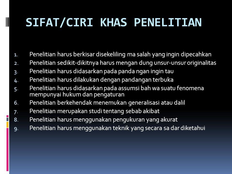 SIFAT/CIRI KHAS PENELITIAN