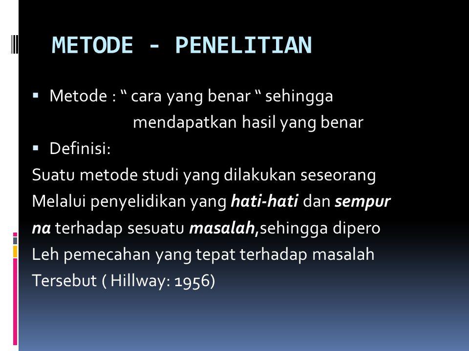 METODE - PENELITIAN Metode : cara yang benar sehingga