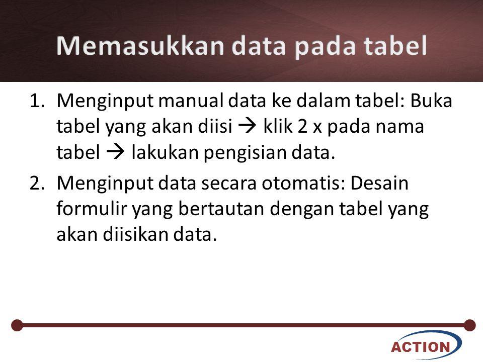 Memasukkan data pada tabel