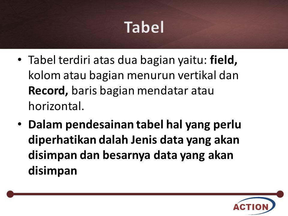 Tabel Tabel terdiri atas dua bagian yaitu: field, kolom atau bagian menurun vertikal dan Record, baris bagian mendatar atau horizontal.