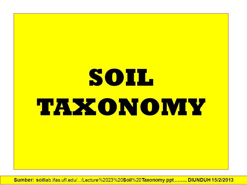 SOIL TAXONOMY Sumber: soillab.ifas.ufl.edu/.../Lecture%2023%20Soil%20Taxonomy.ppt ……..