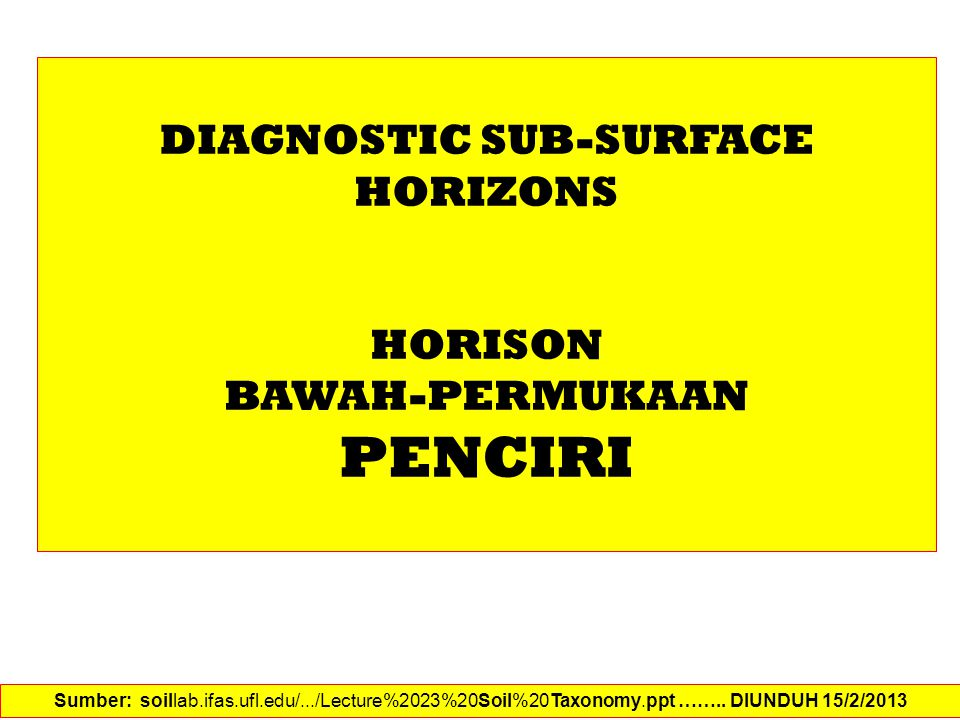 DIAGNOSTIC SUB-SURFACE HORIZONS