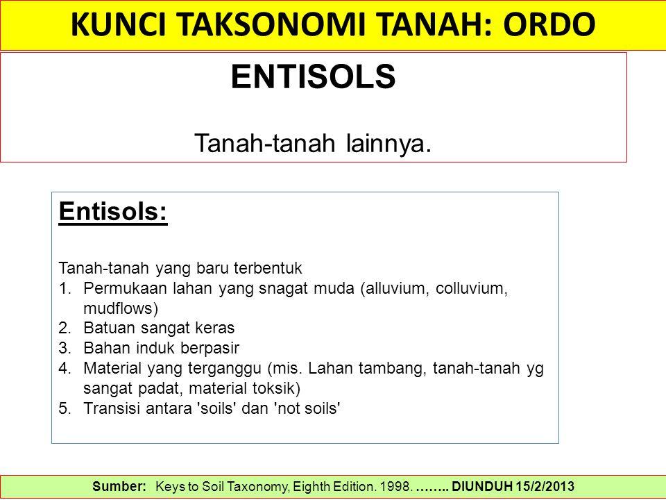 KUNCI TAKSONOMI TANAH: ORDO