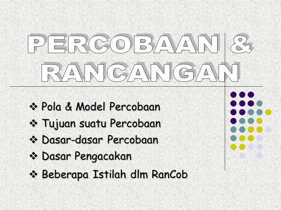 PERCOBAAN & RANCANGAN  Pola & Model Percobaan