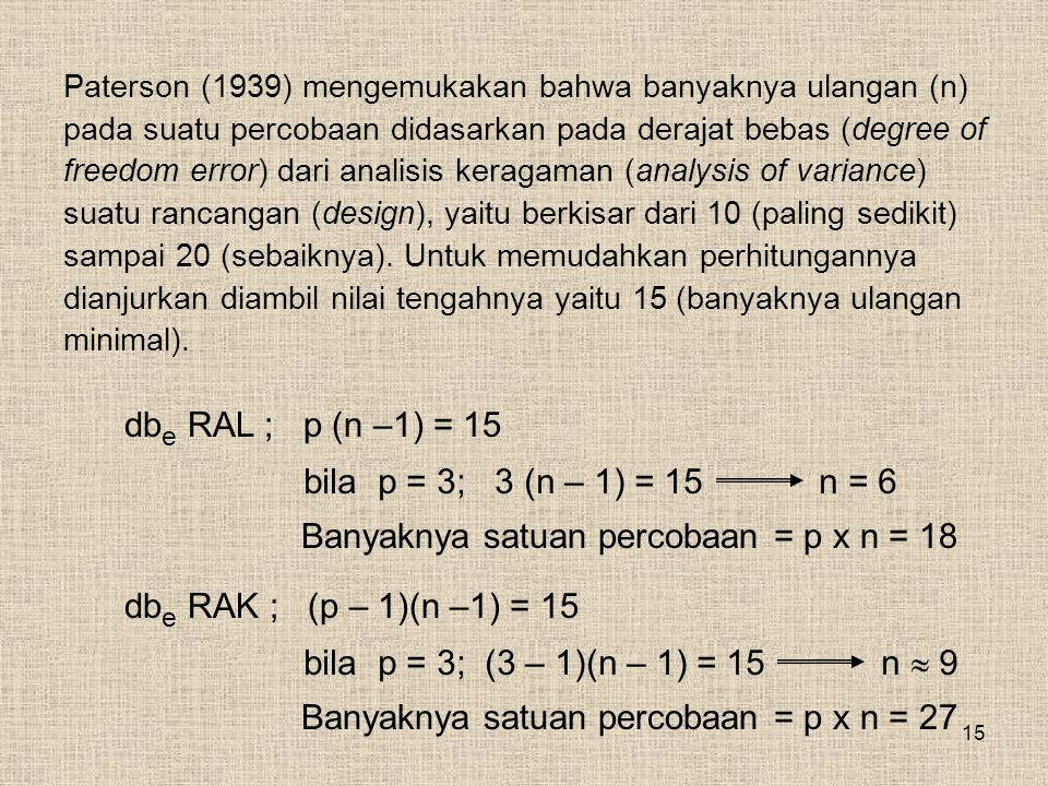 Banyaknya satuan percobaan = p x n = 18