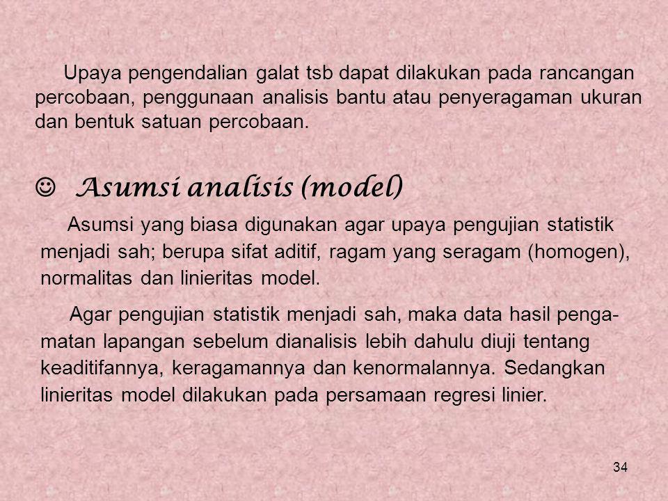  Asumsi analisis (model)