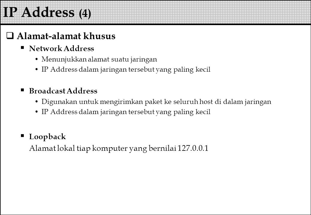 IP Address (4) Alamat-alamat khusus Network Address Broadcast Address