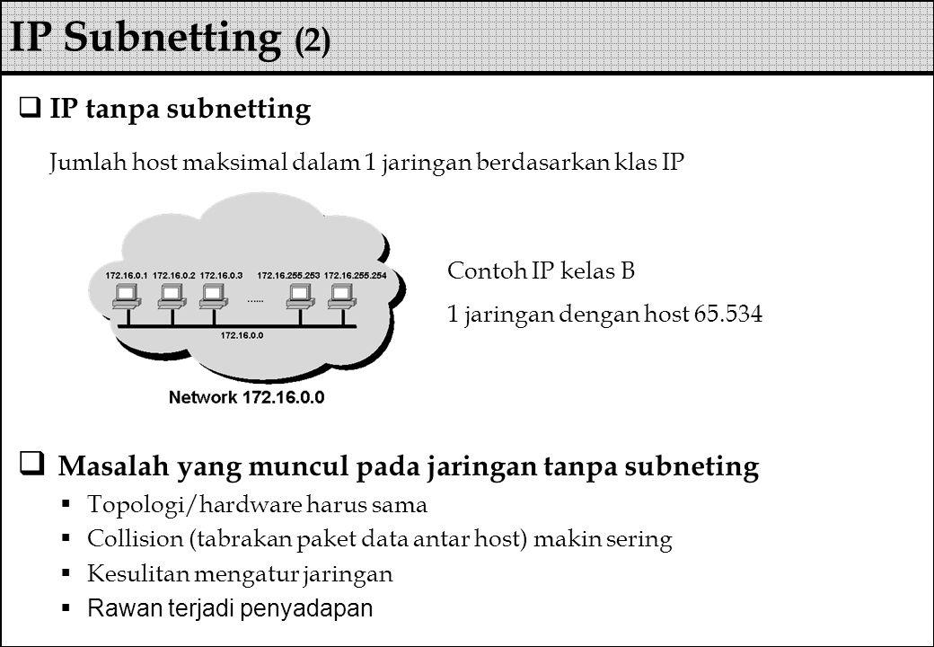 IP Subnetting (2) IP tanpa subnetting. Jumlah host maksimal dalam 1 jaringan berdasarkan klas IP. Masalah yang muncul pada jaringan tanpa subneting.
