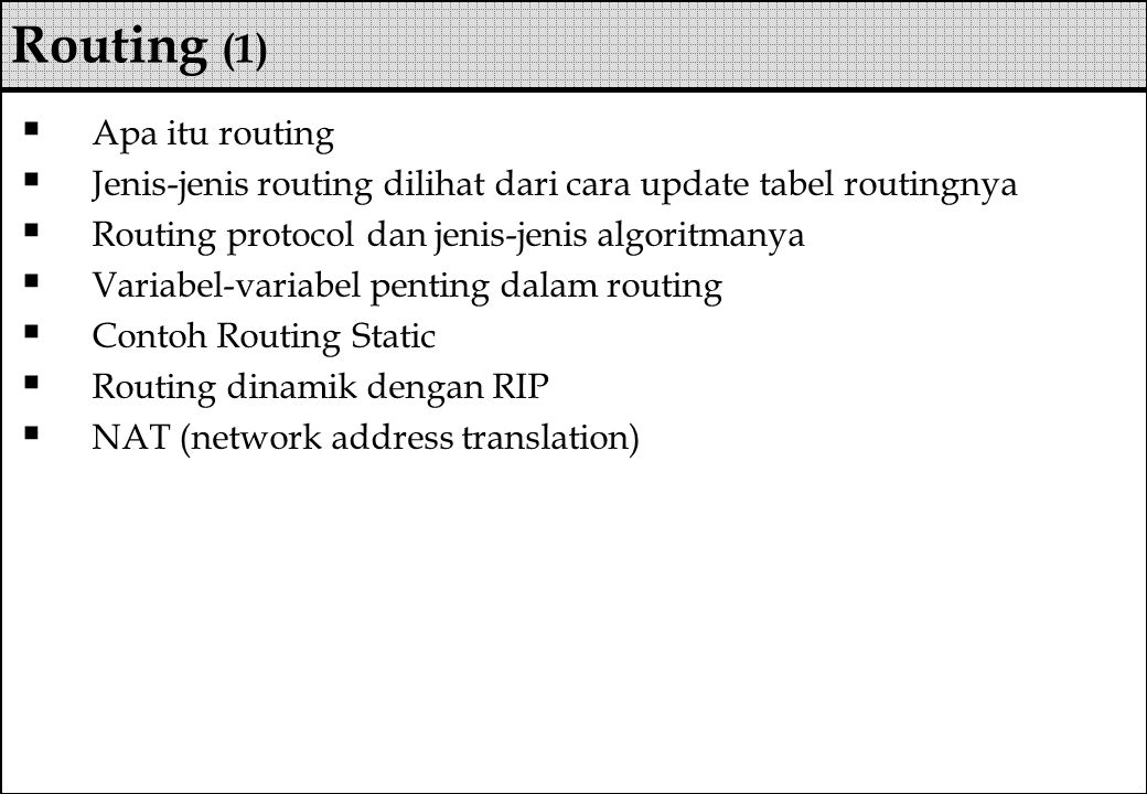 Routing (1) Apa itu routing