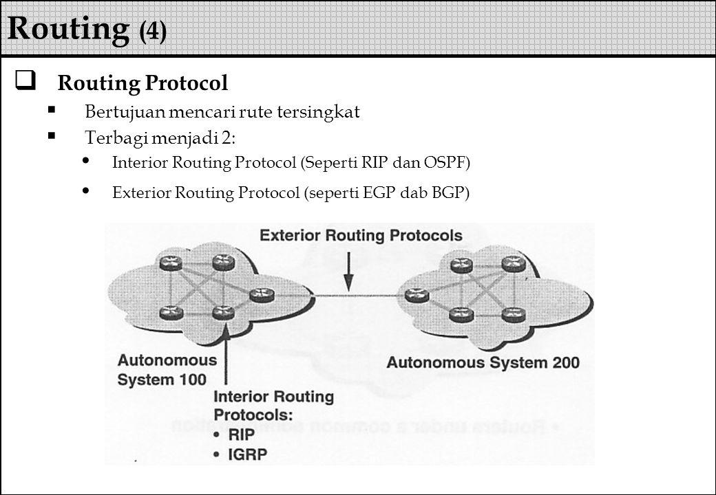 Routing (4) Routing Protocol Bertujuan mencari rute tersingkat