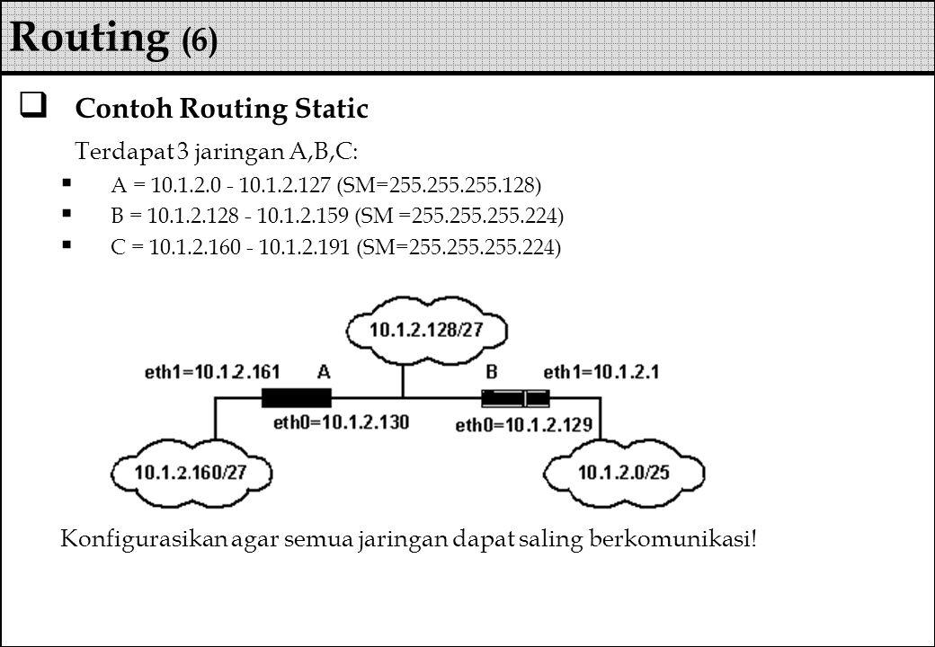 Routing (6) Contoh Routing Static Terdapat 3 jaringan A,B,C: