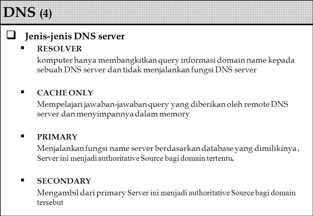DNS (4) Jenis-jenis DNS server RESOLVER